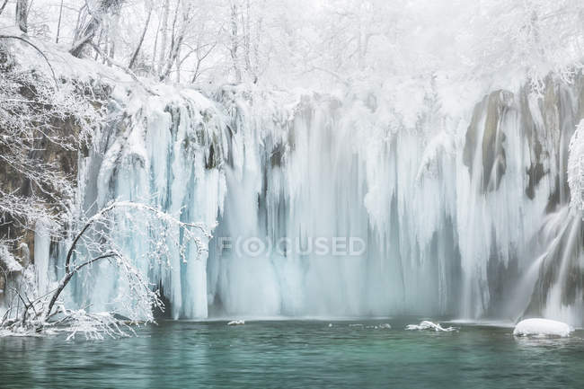 Frozen waterfalls and trees — Stock Photo