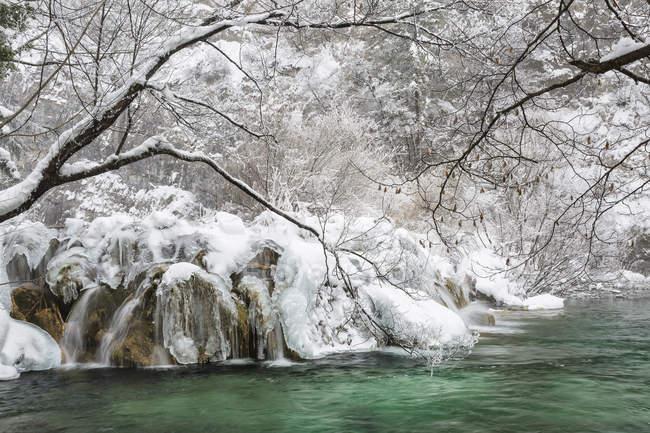 Paisaje congelado en los lagos de Plitvice - foto de stock
