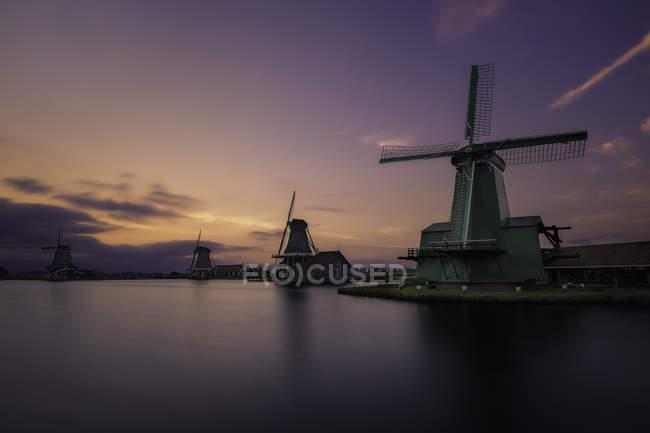 View of windmills in neighborhood of Zaandam, near Zaandijk in the Netherlands. — Stock Photo