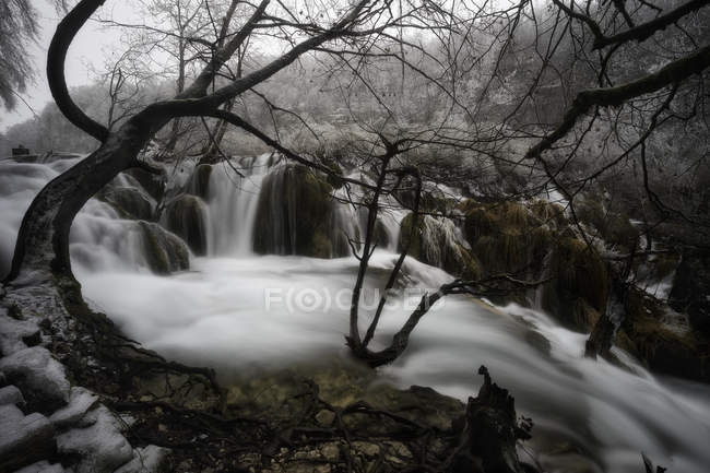 River flowing through winter forest — Stock Photo