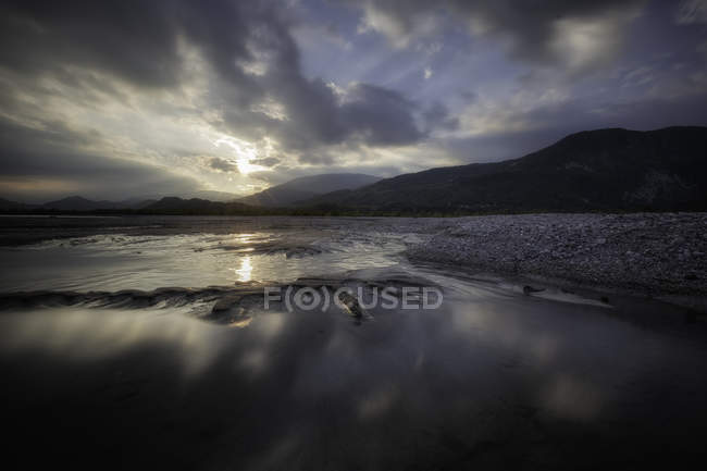 Tagliamento river at sunset — Stock Photo