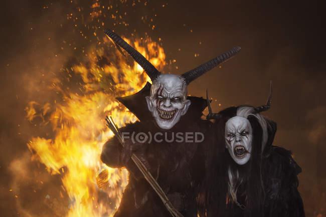 Horrific demon Krampus — Stock Photo