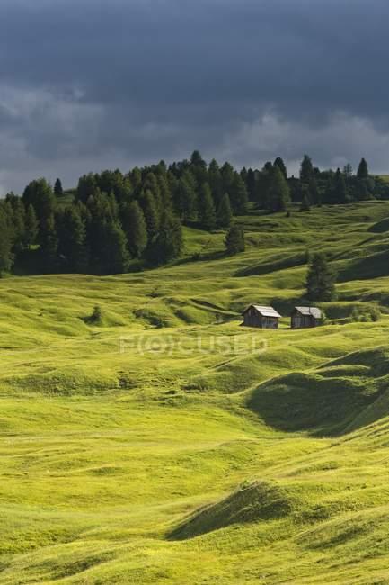 Cabañas y prados de la montañosas - foto de stock