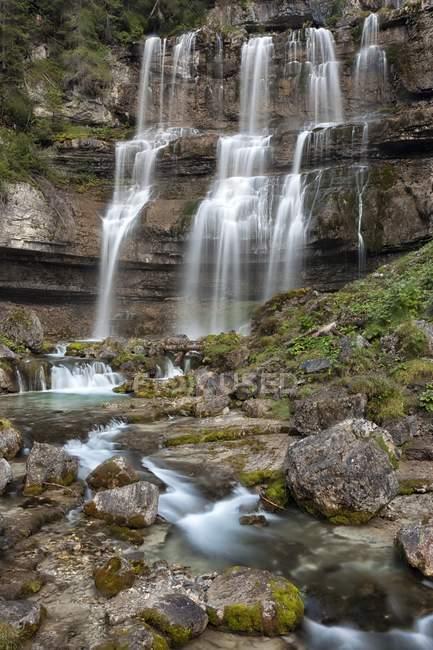 Spectacular Vallesinella waterfalls — Stock Photo