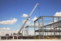 Crane Over Steel Structure — Stock Photo