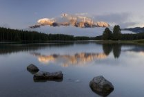 Lac avec reflets et forêt — Photo de stock