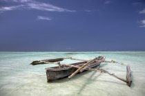 Zanzibar, Africa; Dhow In Water — Stock Photo