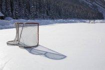 Hockey Net On Outdoor Ice Rink — Stock Photo
