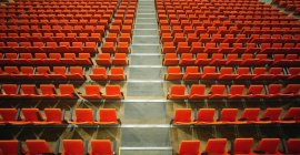 Large Room With Red Theatre Seating — Stock Photo