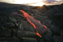 Hot lava and magmatic structures — Stock Photo