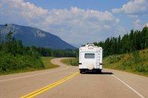 Recreational Vehicle Driving Through Alberta — Stock Photo