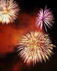 Exhibición de fuegos artificiales en el cielo nocturno - foto de stock