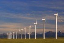 Fila de turbinas eólicas - foto de stock