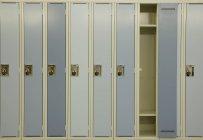 Row of lockers with combination locks — Stock Photo