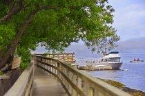 Barche e passerella in legno — Foto stock