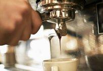 Closeup view of coffee machine making coffee — Stock Photo