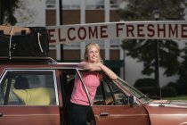 Woman Arriving At College — Stock Photo