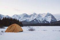 Tienda en pradera cubierta de nieve - foto de stock