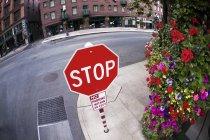 Panneau d'arrêt sur la rue — Photo de stock