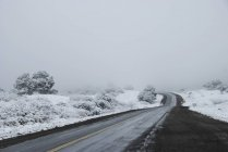 Road In Winter With Fog Outside Tucuman — Stock Photo