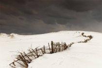 Сломанный забор в поле — стоковое фото