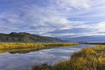 Tidal Slough And Mountain Scenic — Stock Photo