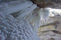 Cascata ghiacciata nel canyon di Maligne — Foto stock