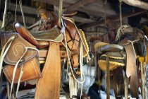 Saddles hung from the ceiling;Yelapa jalisco mexico — Stock Photo
