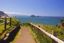 Шлях до океану і скельними утвореннями — стокове фото