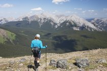 Female Hiker With Hiking Poles — Stock Photo