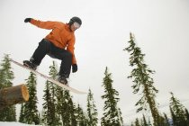 Snowboarder In Mid Air over snow against trees — Stock Photo