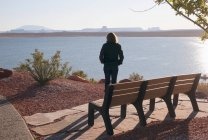 Woman  Looking Out Over Lake Powell; — Stock Photo