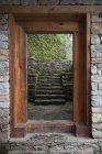 Wooden Doorway In Trongsa Museum — Stock Photo