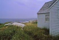 Haus am Ufer mit grünen Rasen — Stockfoto