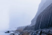 Rock cliff in fog — Stock Photo