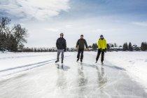 Due maschi e una femmina pattinaggio su appena curato ghiaccio sullo stagno — Foto stock