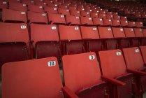 Red stadium seats. Brandon, Manitoba, Canada — Stock Photo