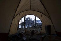 Blick vom Zelt — Stockfoto