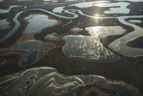 Aerial view of frozen ponds — Stock Photo