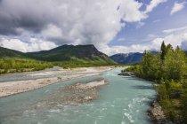 Rivière de course le long de la route de l'Alaska — Photo de stock