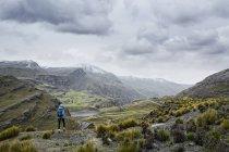 Hiker standing on top — Stock Photo