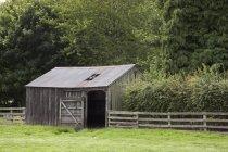 Hangar en bois, Northumberland, Angleterre — Photo de stock