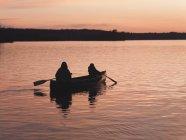 Академічне веслування на озеро на заході сонця, Лісове озеро, Онтаріо, Канада — стокове фото