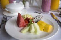 White Plate Of Fruit — Stock Photo