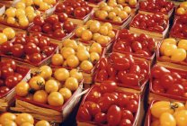 Tomatoes in crates At Market — Stock Photo