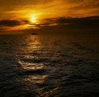 Barco solitario en el mar - foto de stock
