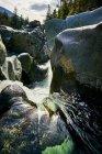 Кеннеді річки різьблення його шляху між великими каменями, острів Ванкувер; Британська Колумбія, Канада — стокове фото