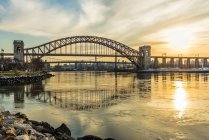Hell Gate And Rfk Triboro Bridges At Sunset, Ralph Demarco Park; Queens, New York, United States Of America — Stock Photo