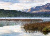 Brume s'élevant au-dessus d'un lac de montagne au petit matin, le Parc National Jasper; Jasper, Alberta, Canada — Photo de stock