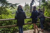 Мати і дві її дочки, стоячи на оглядовий майданчик, з видом на пишні тропічні ліси — стокове фото